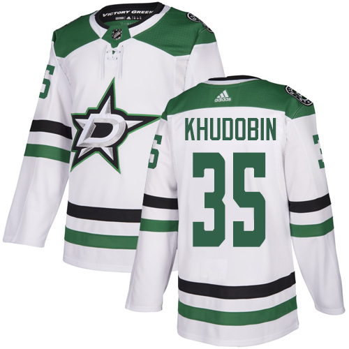 Men's Dallas Stars #35 Anton Khudobin White Stitched NHL Jersey