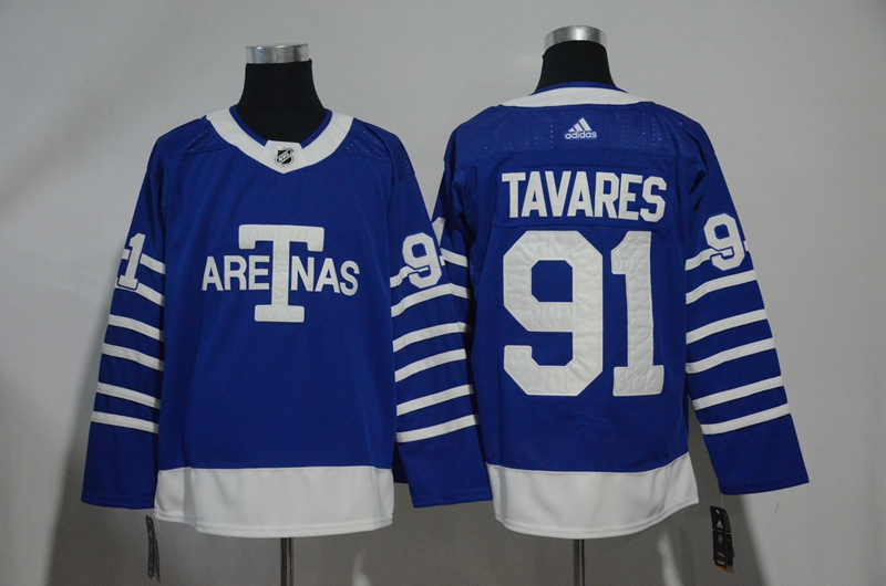 Men's Toronto Maple Leafs #91 John Tavares Blue 1918 Arenas Throwback Stitched NHL Jersey