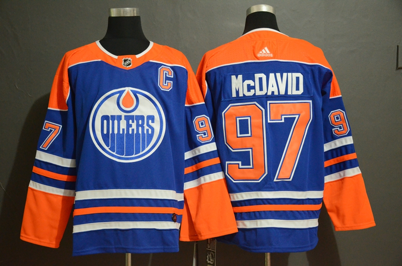 Men's Edmonton Oilers #97 Connor McDavid Royal Stitched NHL Jersey