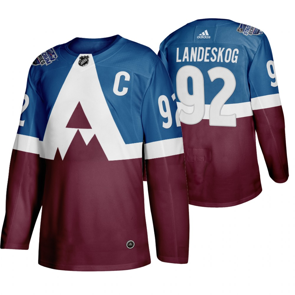 Men's Colorado Avalanche #92 Gabriel Landeskog 2020 Stadium Series Blue Stitched NHL Jersey