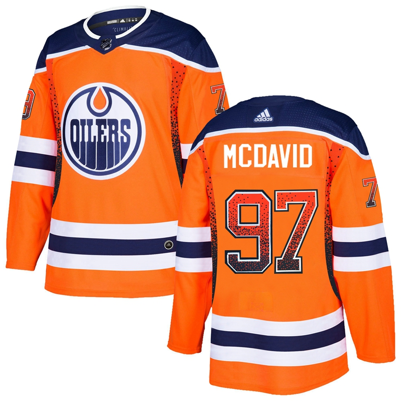 Men's Edmonton Oilers #97 Connor McDavid Orange Drift Fashion Stitched NHL Jersey