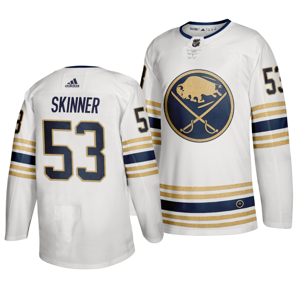 Men's Buffalo Sabres #53 Jeff Skinner 2019 White 50th Season Stitched NHL Jersey