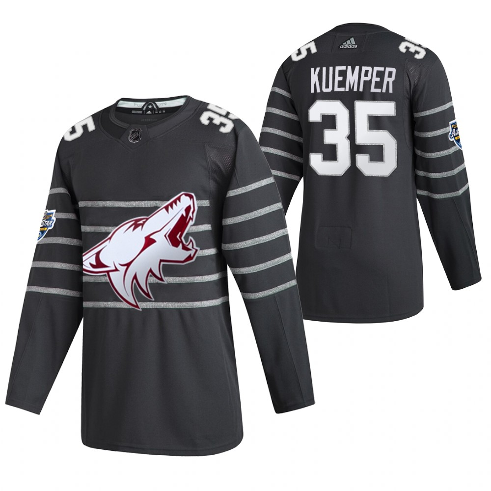 Men's Arizona Coyotes #35 Darcy Kuemper 2020 Grey All Star Stitched NHL Jersey