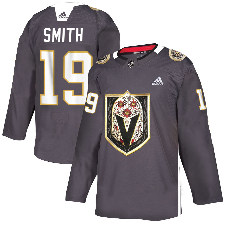 Men's Vegas Golden Knights #19 Reilly Smith Grey Latino Heritage Night Stitched NHL Jersey