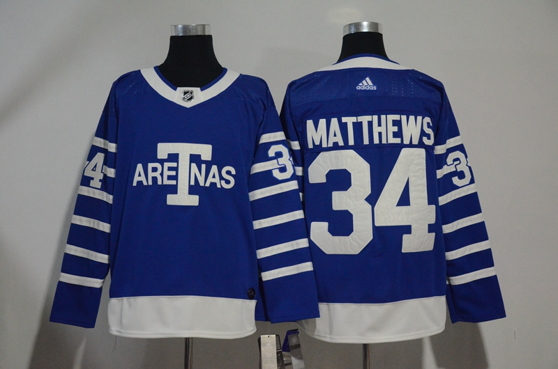 Men's Toronto Maple Leafs #34 Auston Matthews Blue 1918 Arenas Throwback Stitched NHL Jersey