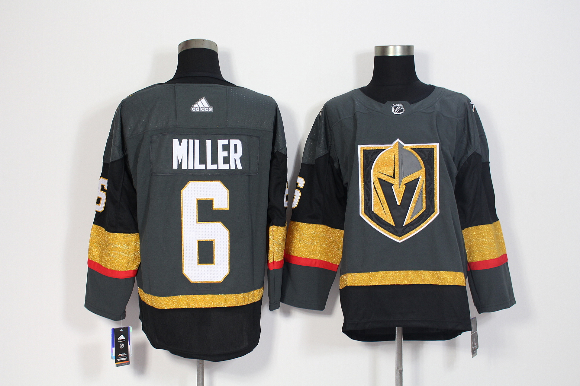 Men's Adidas Vegas Golden Knights #6 Colin Miller Grey Stitched NHL Jersey