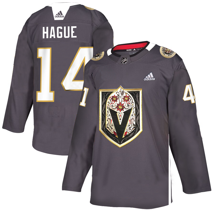 Men's Vegas Golden Knights #14 Nicolas Hague Grey Latino Heritage Night Stitched NHL Jersey