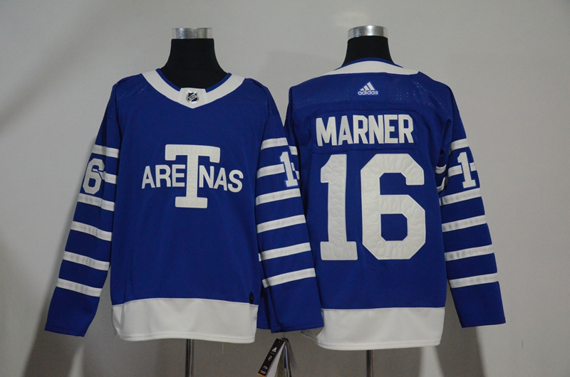 Men's Toronto Maple Leafs #16 Mitchell Marner Blue 1918 Arenas Throwback Stitched NHL Jersey