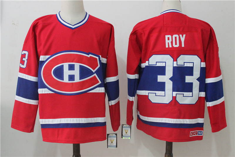 Men's Montreal Canadiens #33 Patrick Roy Red Throwback CCM Stitched NHL Jersey
