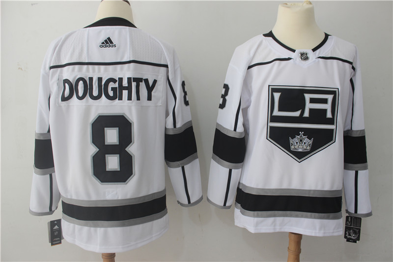 Men's Adidas Los Angeles Kings #8 Drew Doughty White Stitched NHL Jersey
