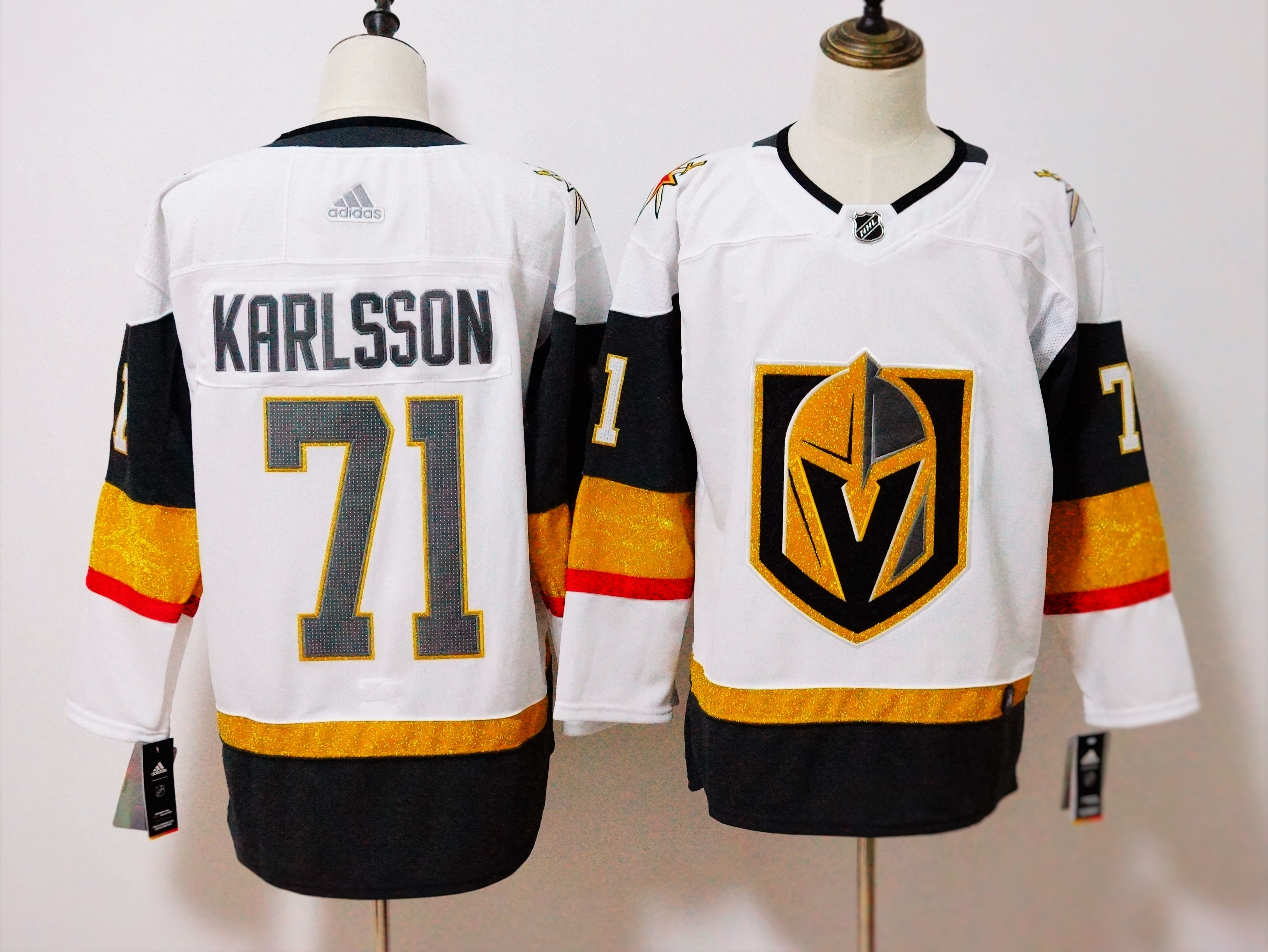 Men's Adidas Vegas Golden Knights #71 William Karlsson White Stitched NHL Jersey