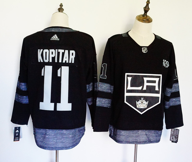 Men's Adidas Los Angeles Kings #11 Anze Kopitar Black 1917-2017 100th Anniversary Stitched NHL Jersey