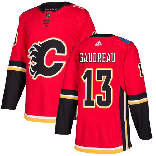 Men's Adidas Calgary Flames #13 Johnny Gaudreau Red Stitched NHL Jersey