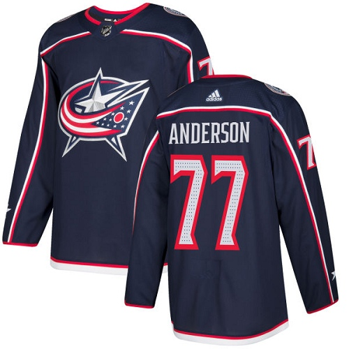 Men's Columbus Blue Jackets #77 Josh Anderson Navy Stitched NHL Jersey