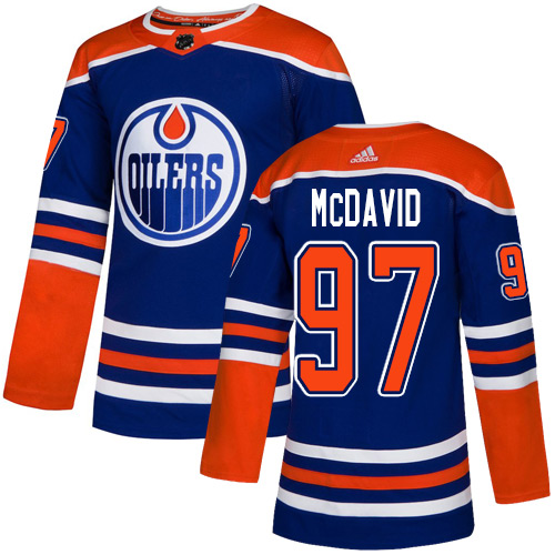 Men's Adidas Edmonton Oilers #97 Connor McDavid Royal Blue Stitched NHL Jersey