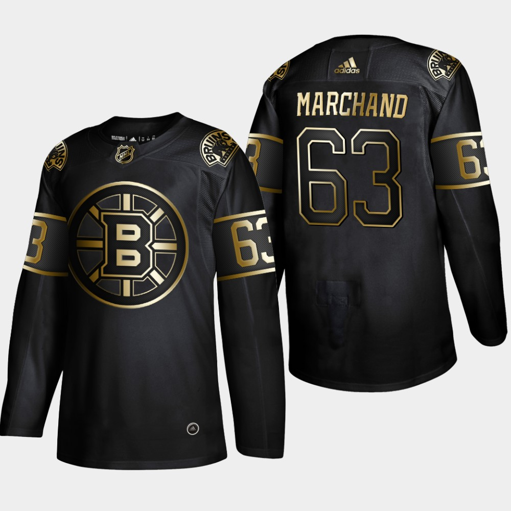 Men's Boston Bruins #63 Brad Marchand Black Golden Edition Stitched NHL Jersey