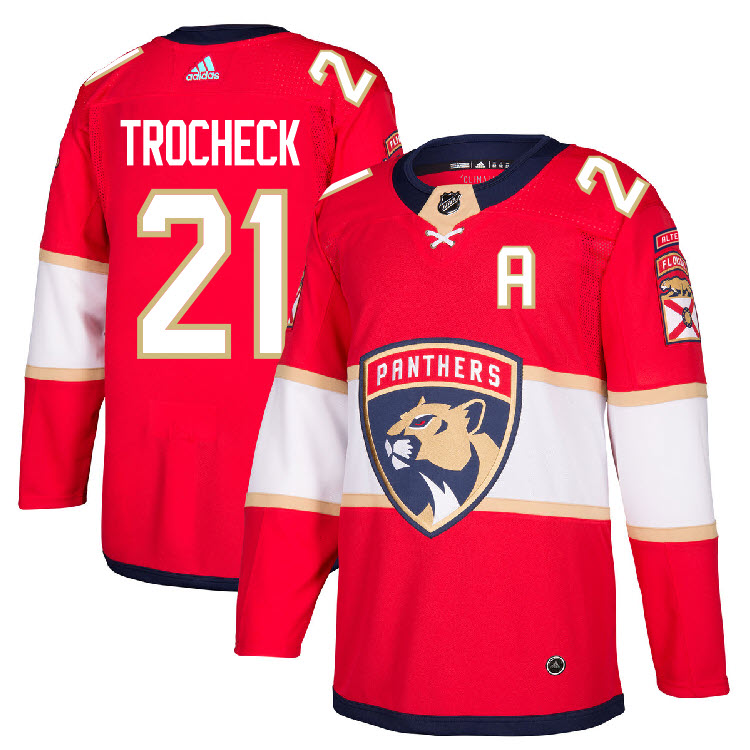Men's Florida Panthers #21 Vincent Trocheck Red Stitched NHL Jersey