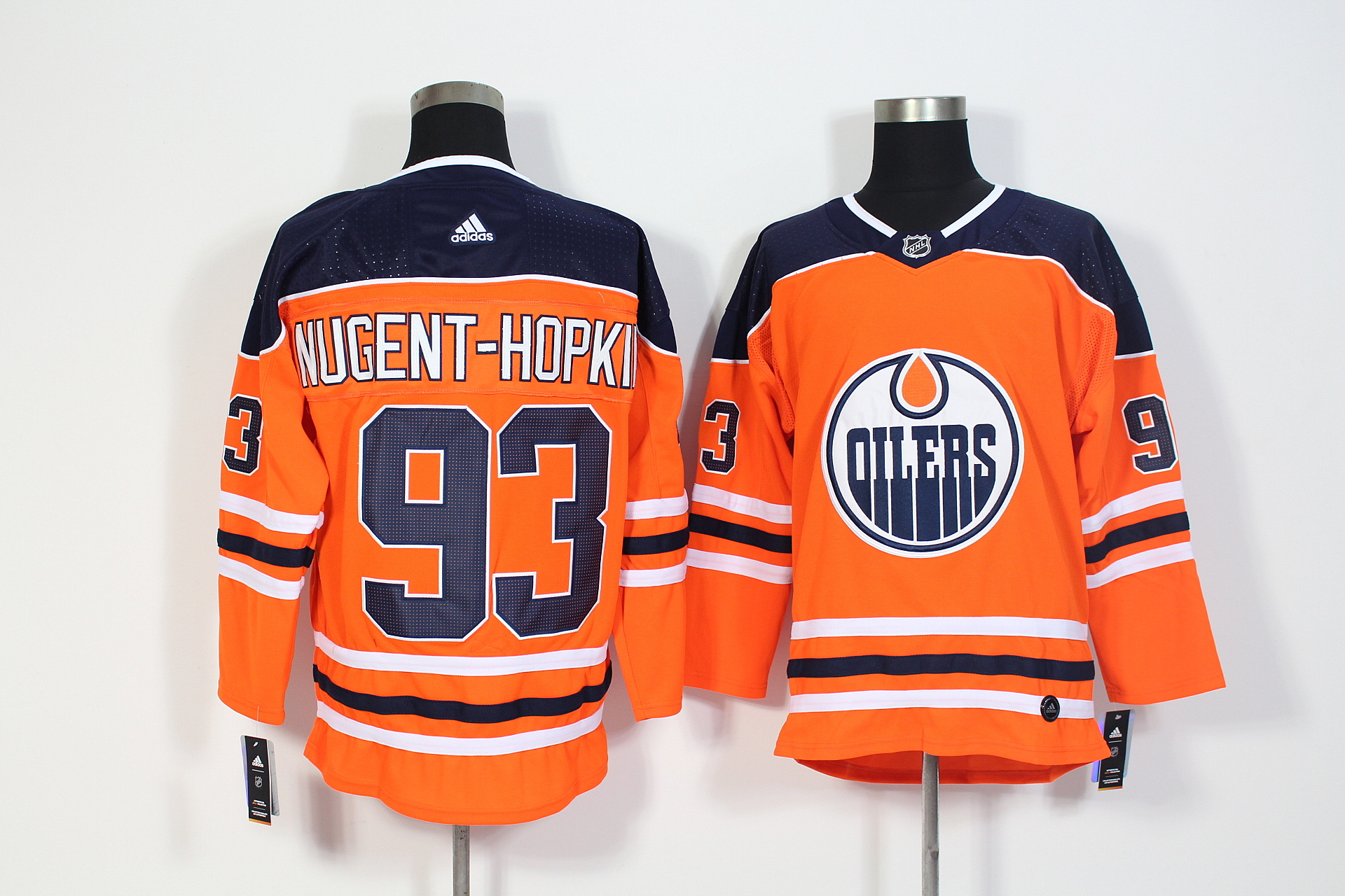 Men's Adidas Edmonton Oilers #93 Ryan Nugent-Hopkins Orange Stitched NHL Jersey