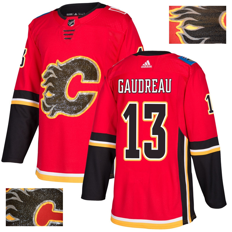 Men's Calgary Flames #13 Johnny Gaudreau Red Fashion Gold Stitched NHL Jersey