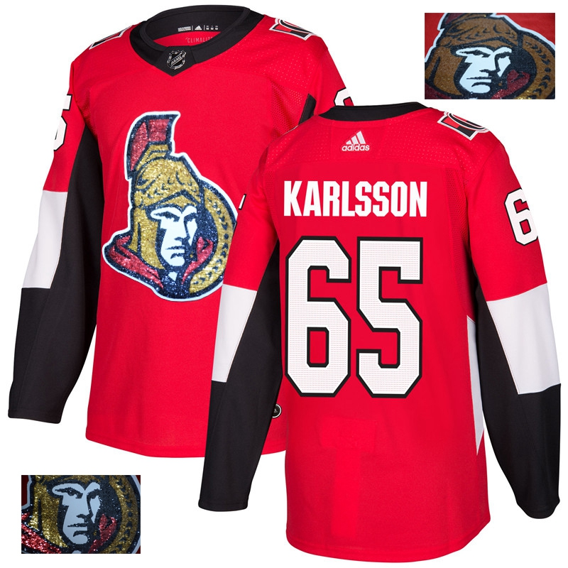 Men's Ottawa Senators #65 Erik Karlsson Red Fashion Gold Stitched NHL Jersey