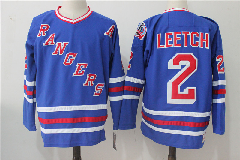 Men's New York Rangers #2 Brian Leetch Royal Throwback CCM Stitched NHL Jersey