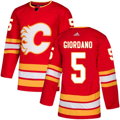 Men's Calgary Flames #5 Mark Giordano Red Stitched NHL Jersey