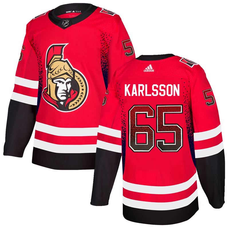 Men's Ottawa Senators #65 Erik Karlsson Red Drift Fashion Stitched NHL Jersey
