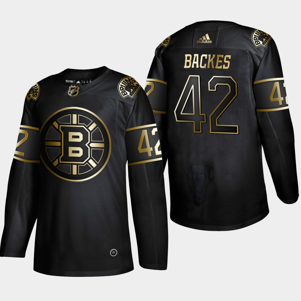 Men's Boston Bruins #42 David Backes Black Golden Edition Stitched NHL Jersey