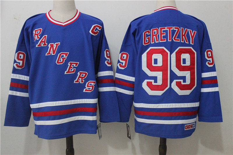 Men's New York Rangers #99 Wayne Gretzky Royal Throwback CCM Stitched NHL Jersey