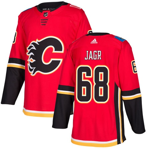Men's Adidas Calgary Flames #68 Jaromir Jagr Red Stitched NHL Jersey