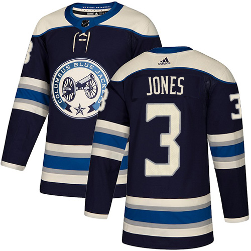 Men's Columbus Blue Jackets #3 Seth Jones Navy Blue Stitched NHL Jersey