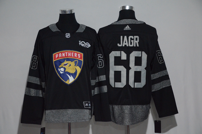 Florida Panthers #68 Jaromir Jagr Black Men's 1917-2017 100th Anniversary Stitched NHL Jersey