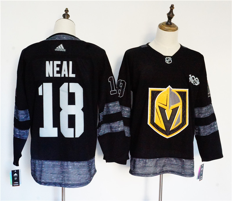 Men's Adidas Vegas Golden Knights #18 James Neal Black 1917-2017 100th Anniversary Stitched NHL Jersey