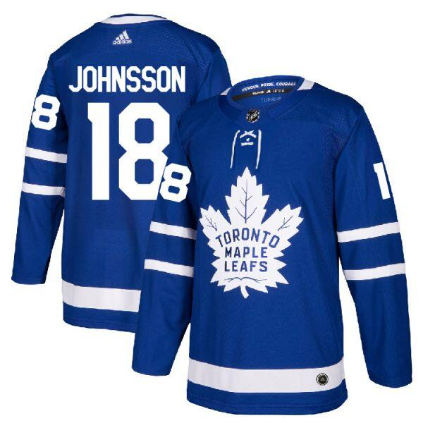 Men's Toronto Maple Leafs #18 Andreas Johnsson Blue Stitched NHL Jersey