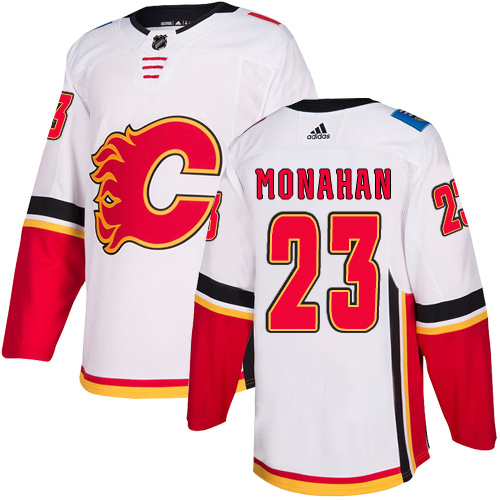 Men's Calgary Flames #23 Sean Monahan White Away Stitched NHL Jersey