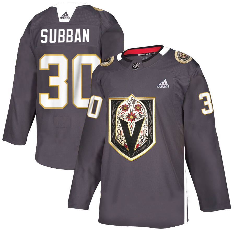 Men's Vegas Golden Knights #30 Malcolm Subban Grey Latino Heritage Night Stitched NHL Jersey