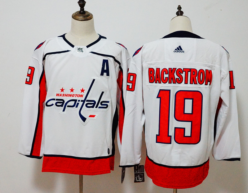 Men s Adidas Washington Capitals  19 Nicklas Backstrom White Stitched NHL  Jersey f7a548a09