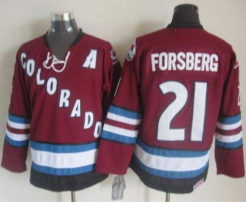 Avalanche #21 Peter Forsberg Red CCM Throwback Stitched NHL Jersey