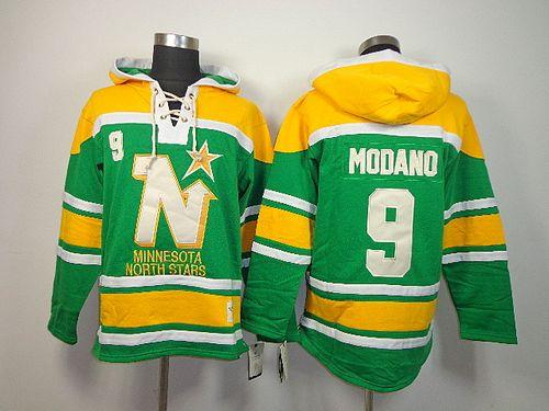 Stars #9 Mike Modano Green Sawyer Hooded Sweatshirt Stitched NHL Jersey