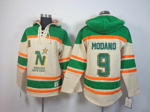 Stars #9 Mike Modano Cream Sawyer Hooded Sweatshirt Stitched NHL Jersey