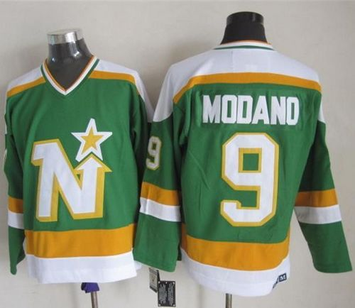 Stars #9 Mike Modano Stitched Green CCM Throwback NHL Jersey