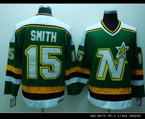 Stars #15 Bobby Smith Stitched Green CCM Throwback NHL Jersey