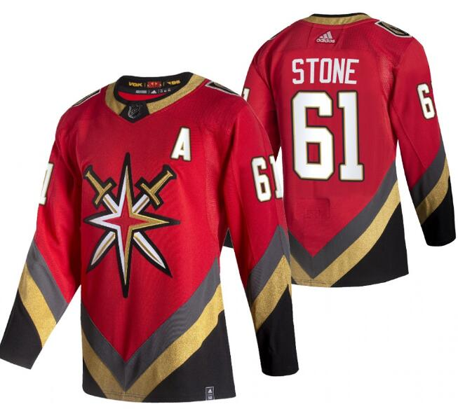 Men's Vegas Golden Knights #61 Mark Stone 2021 Reverse Retro Red Stitched NHL Jersey