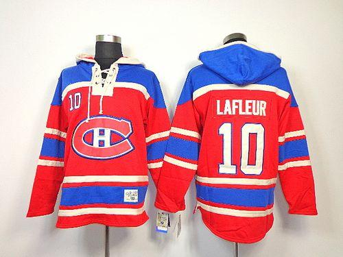 Canadiens #10 Guy Lafleur Red Sawyer Hooded Sweatshirt Stitched NHL Jersey