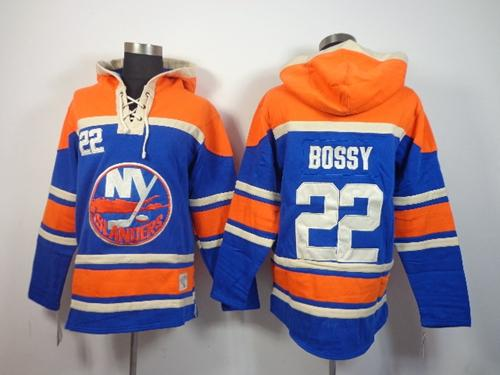 Islanders #22 Mike Bossy Baby Blue Sawyer Hooded Sweatshirt Stitched NHL Jersey