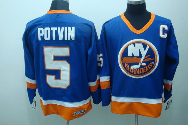 Islanders #5 Denis Potvin Stitched Baby Blue CCM Throwback NHL Jersey