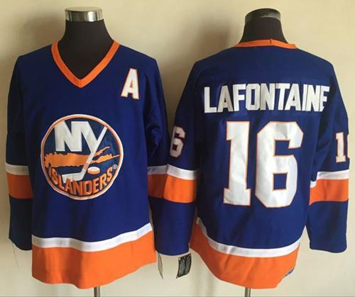 Islanders #16 Pat LaFontaine Baby Blue CCM Throwback Stitched NHL Jersey