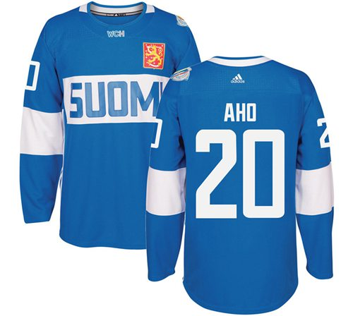 Team Finland #20 Sebastian Aho Blue 2016 World Cup Stitched NHL Jersey