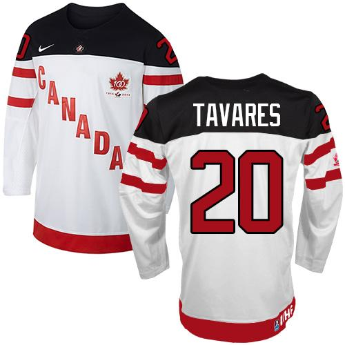 Olympic CA. #20 John Tavares White 100th Anniversary Stitched NHL Jersey