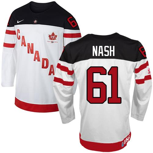 Olympic CA. #61 Rick Nash White 100th Anniversary Stitched NHL Jersey